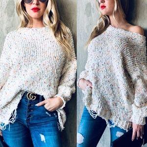 Sweaters - Multi Color Popcorn Distressed Oversize Sweater